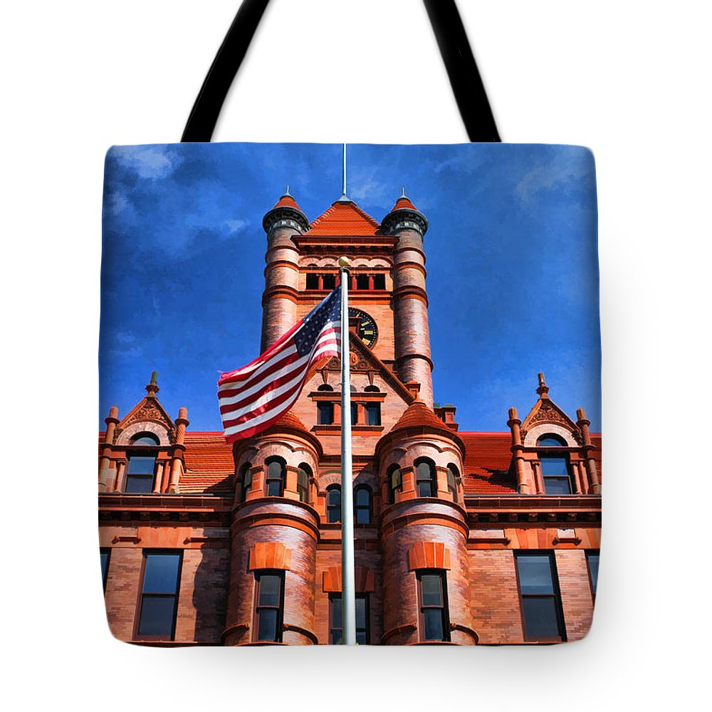 Wheaton Tote Bag featuring the painting Old Dupage County Courthouse Flag by Christopher Arndt