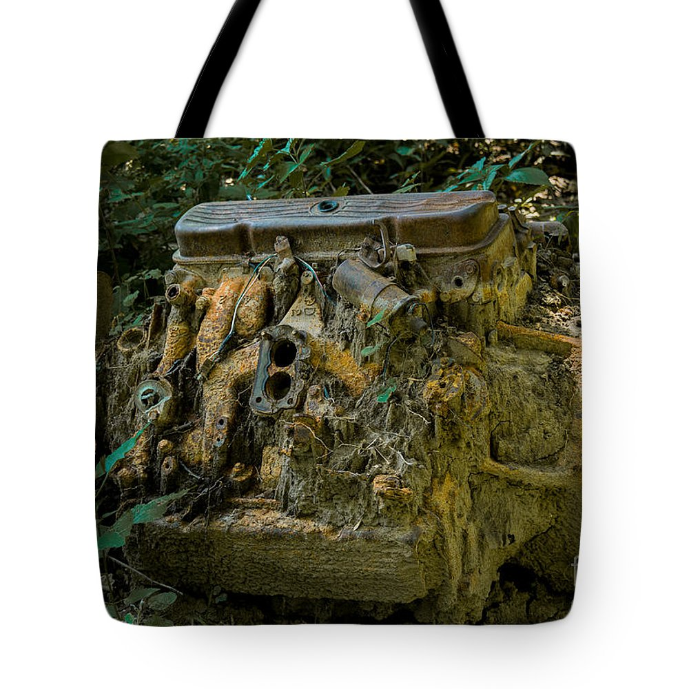 Car Engine Tote Bag featuring the photograph Old Engine Now Rust by M Dale