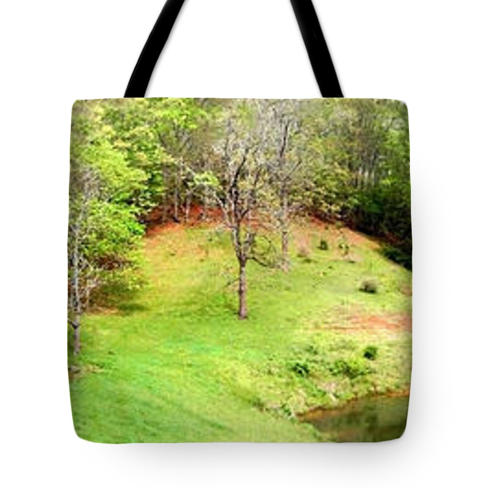 Farm House Tote Bag featuring the photograph Old Farm House And Pond by Duane McCullough