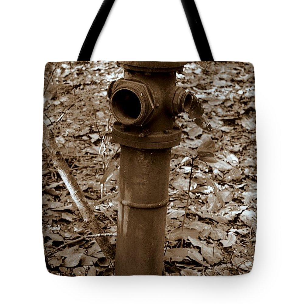Amphibious Tote Bag featuring the photograph Old Fire Hydrant by Debra Forand