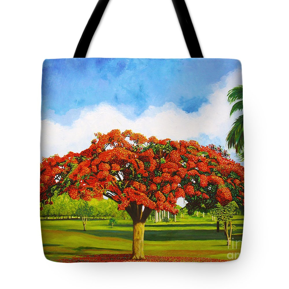 Cuba Art Tote Bag featuring the painting Old Flamboyan by Jose Manuel Abraham