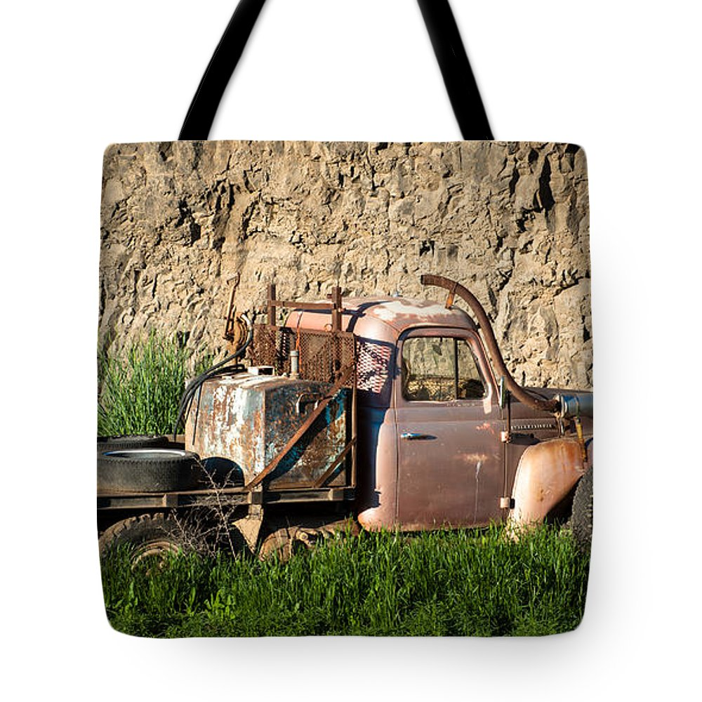 Abandoned Tote Bag featuring the photograph Old Flatbed International Truck by Steve G Bisig