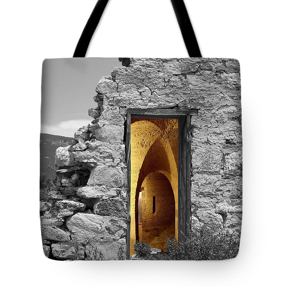 Montages Tote Bag featuring the photograph Old Fort Through The Magic Door by Greg Wells