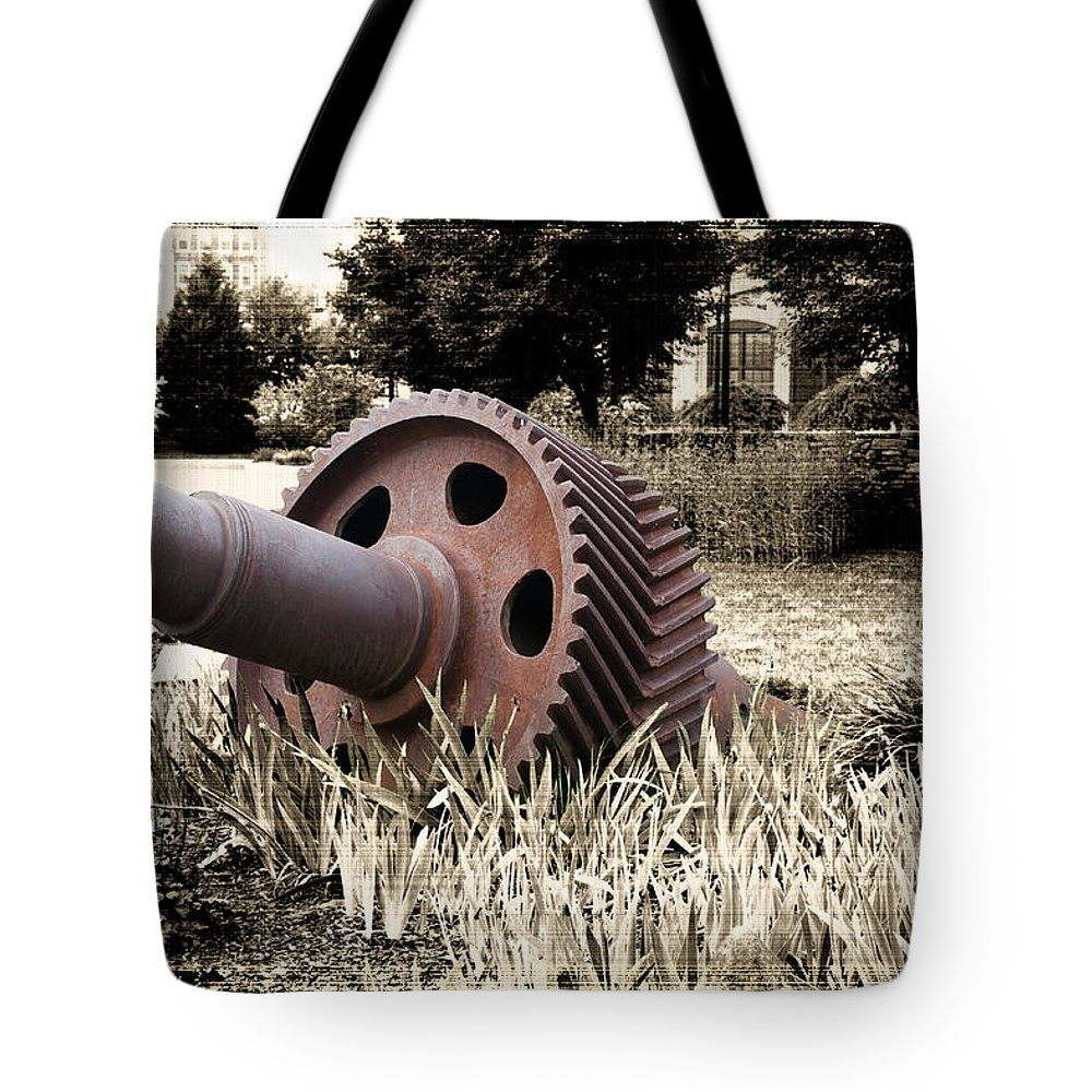 Industry Tote Bag featuring the photograph Old Foundry Gear by Michael Porchik