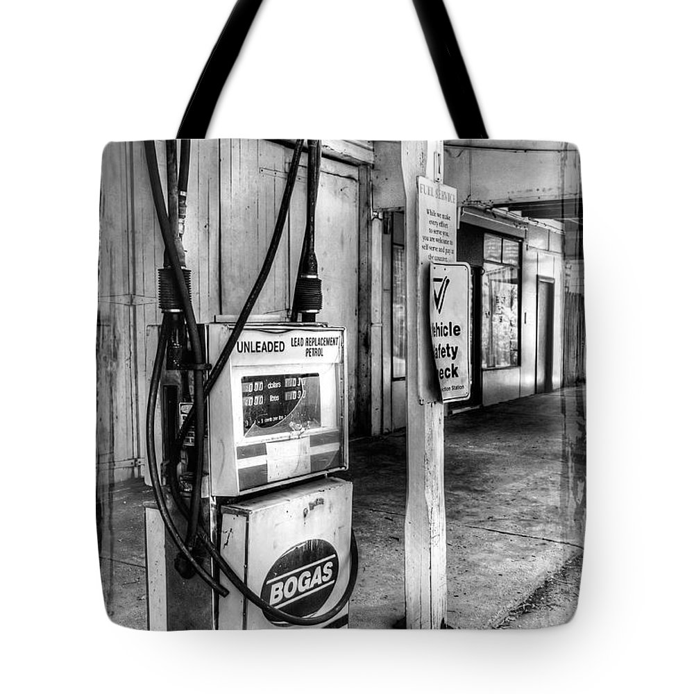 Photography Tote Bag featuring the photograph Old Fuel Pump - Black And White by Kaye Menner