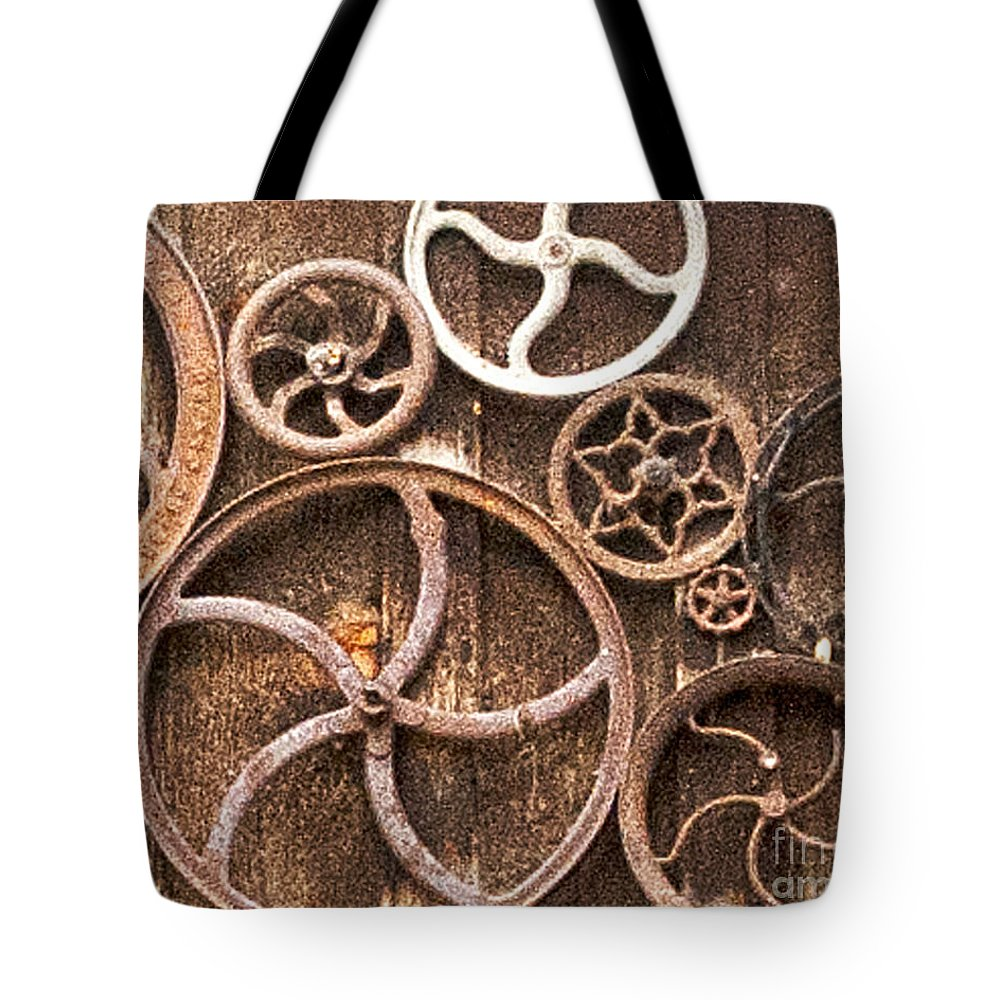 Genoa Tote Bag featuring the photograph Old Gears In Genoa Nevada by Artist and Photographer Laura Wrede