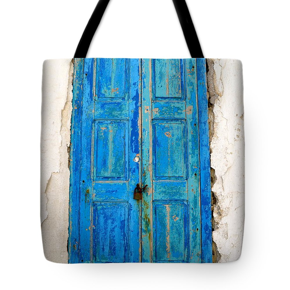 Shutter Tote Bag featuring the photograph Old Greek Shutter by Corinne Rhode