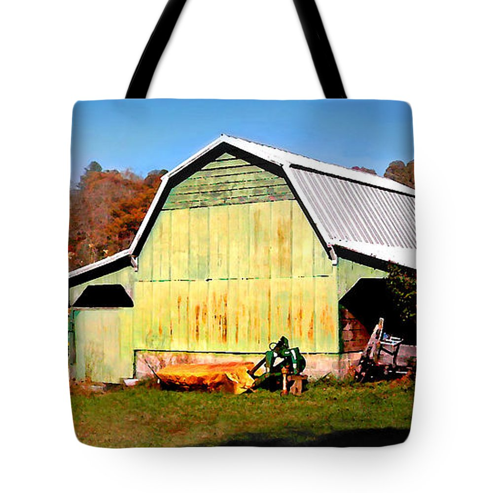 Barns Tote Bag featuring the photograph Old Green Barn South Of Rosman by Duane McCullough