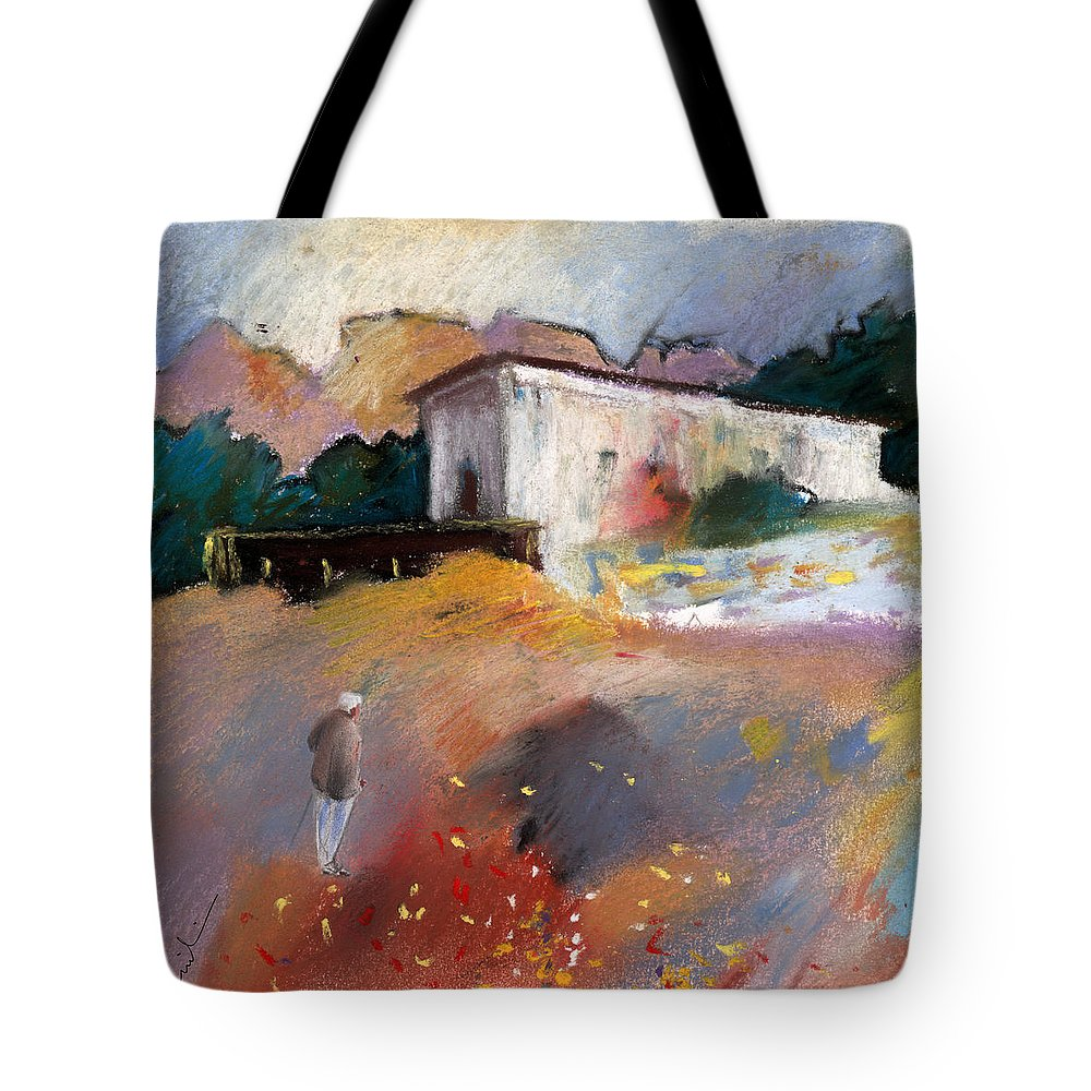 Travel Tote Bag featuring the painting Old House In Altea La Vieja 01 by Miki De Goodaboom