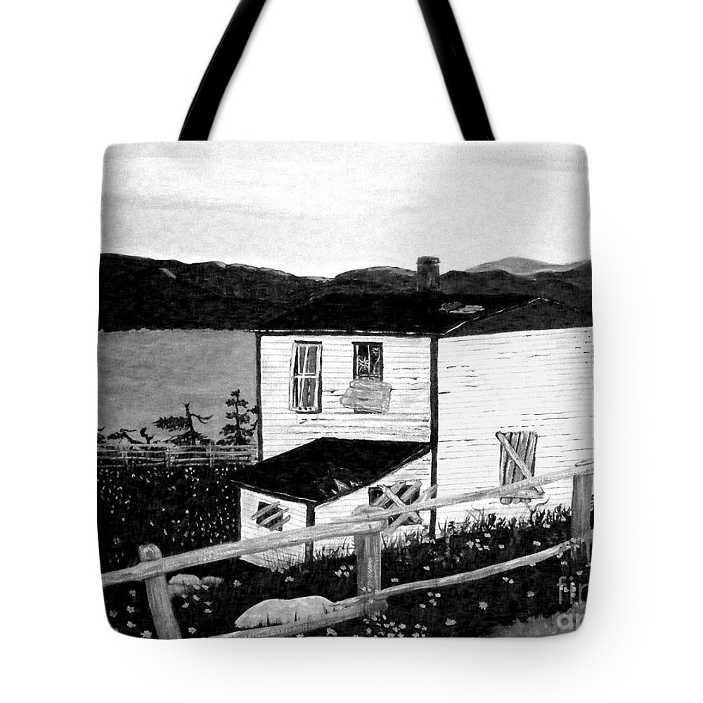 Old house tote bag featuring the painting old house in black and white by barbara griffin