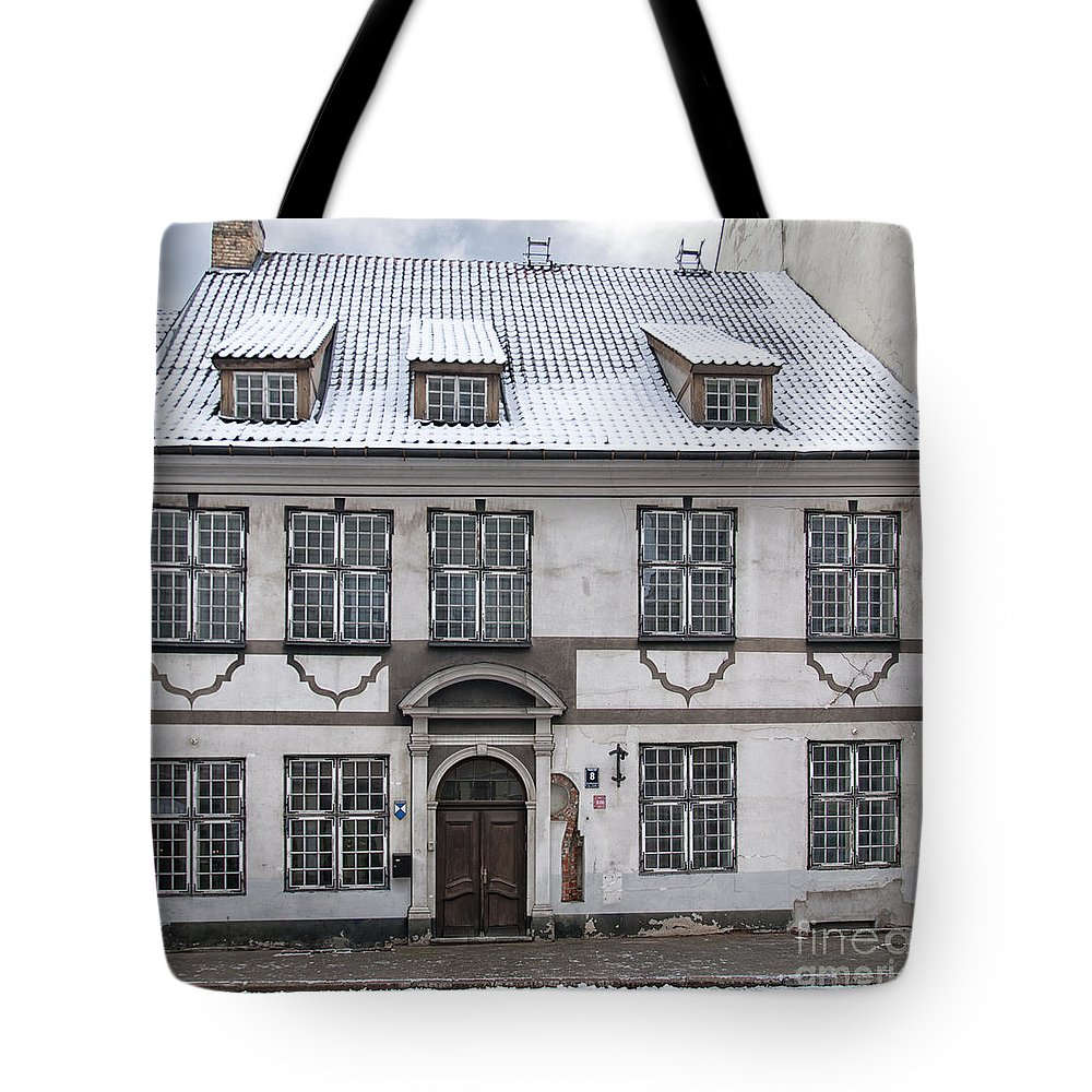 Riga Tote Bag featuring the photograph Old House In Riga by Antony McAulay