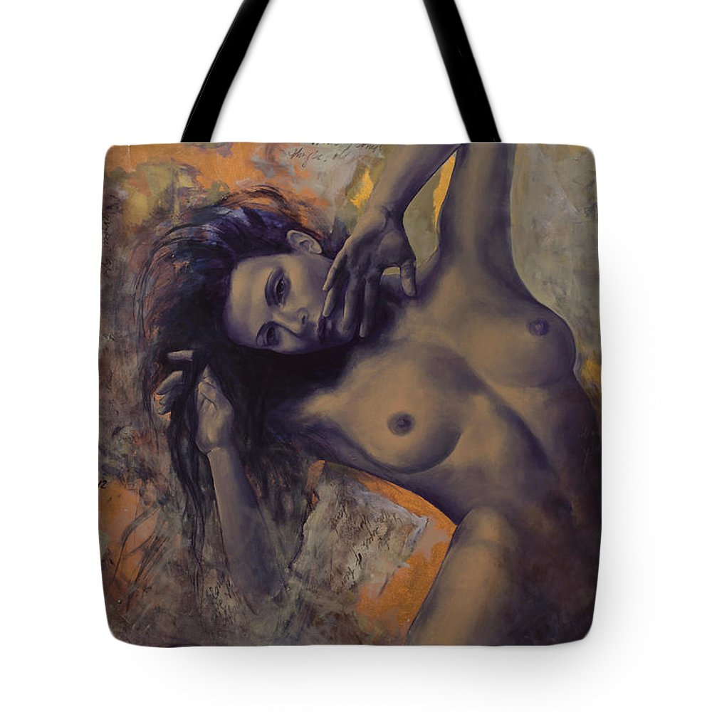 Woman Tote Bag featuring the painting Old Love Letters by Dorina Costras