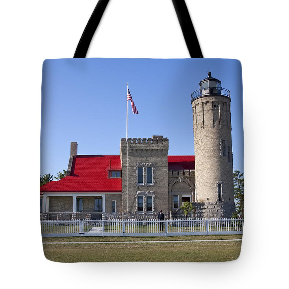 Light Tote Bag featuring the photograph Old Mackinac Mi Lighthouse 19 by John Brueske