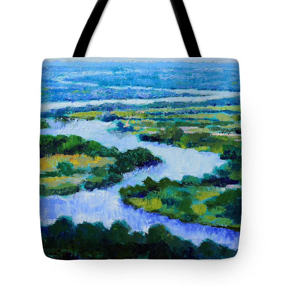 River Tote Bag featuring the painting Old Man River by John Lautermilch