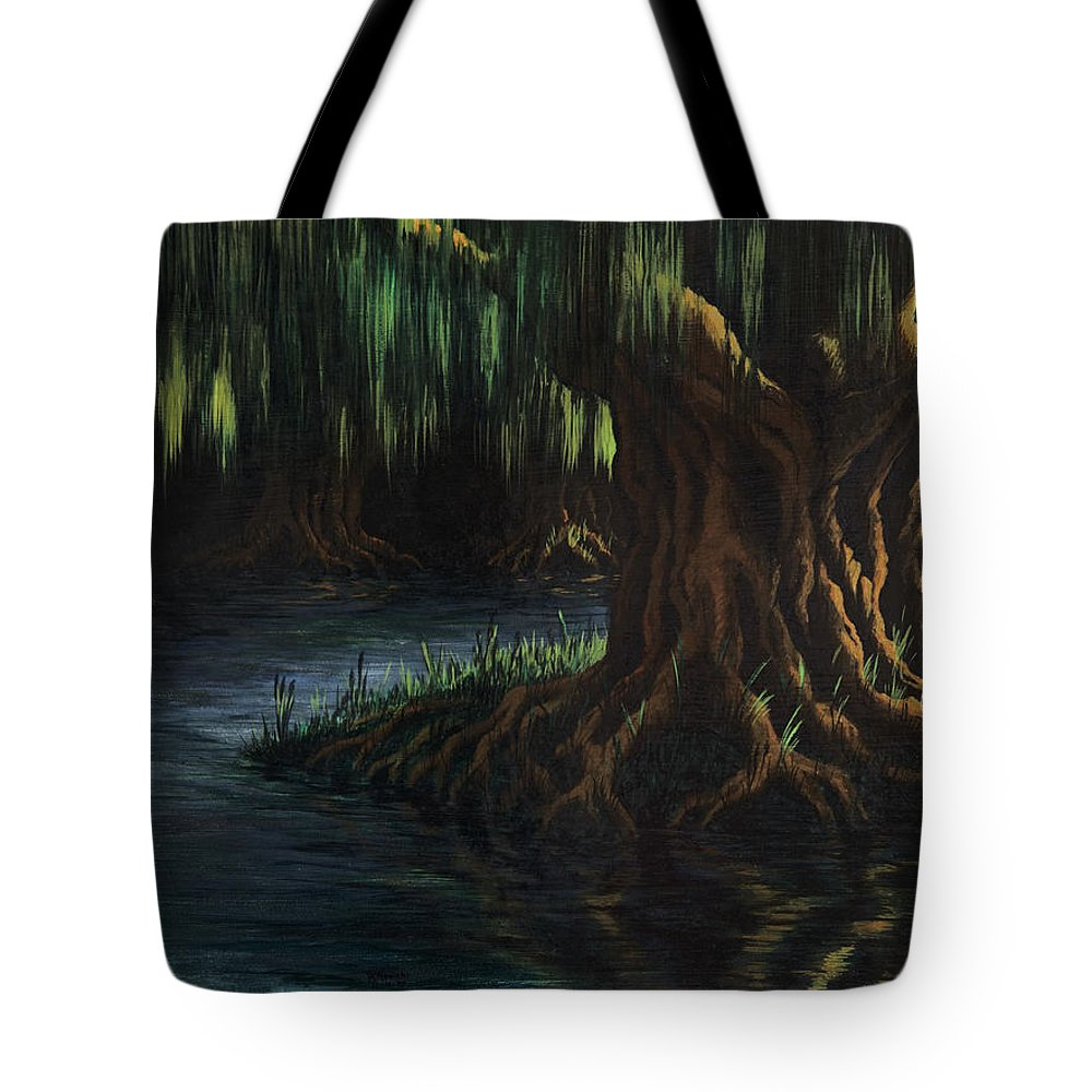 Abstract Tote Bag featuring the painting Old Man Willow by Rachel Christine Nowicki