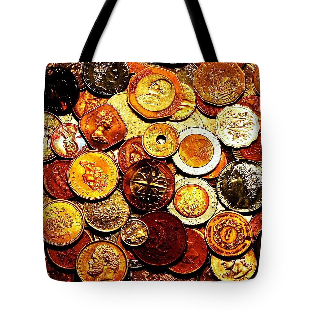 Coins Tote Bag featuring the photograph Old Metal by Benjamin Yeager