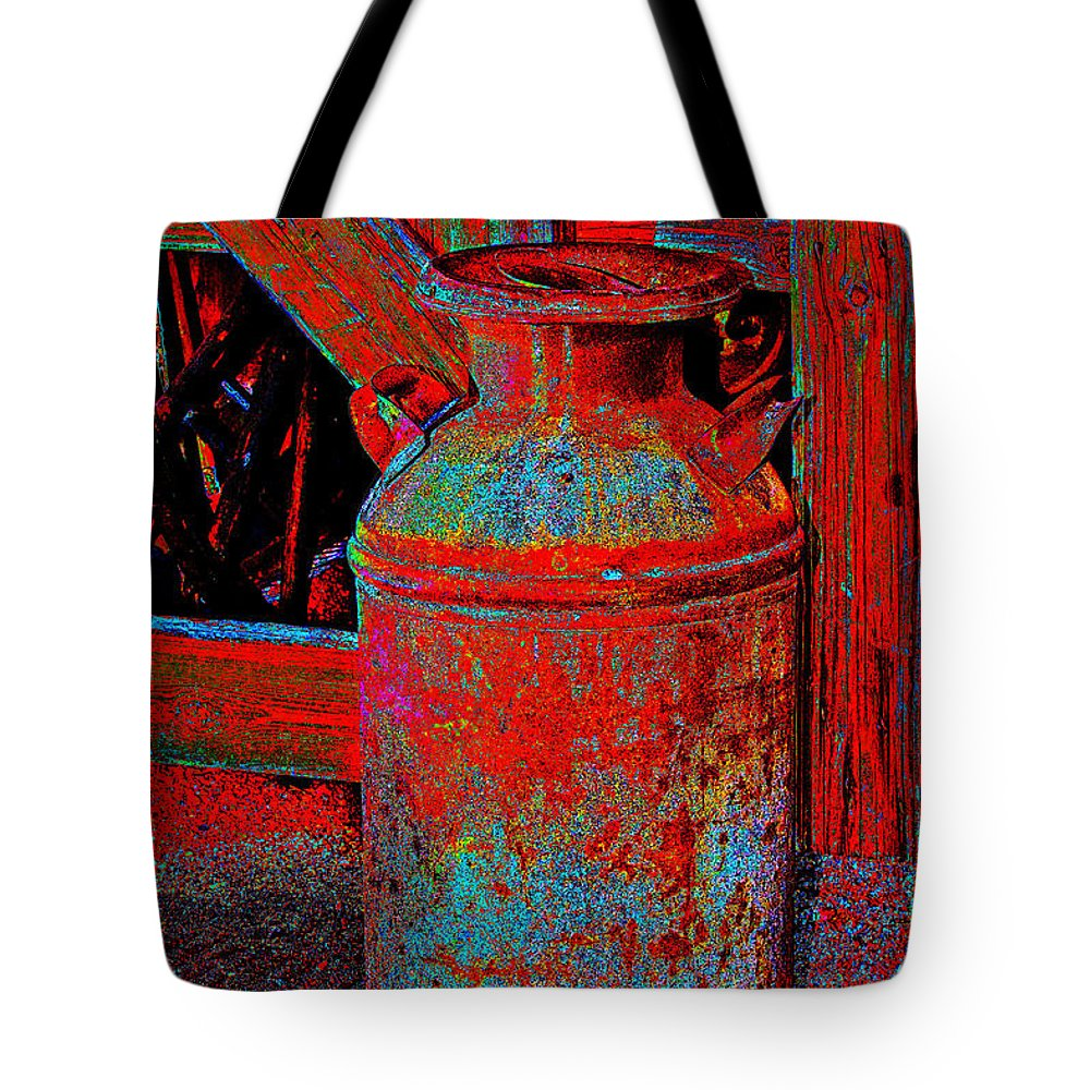 Milk Pail Tote Bag featuring the photograph Old Milk Pail Pop Art by Phyllis Denton