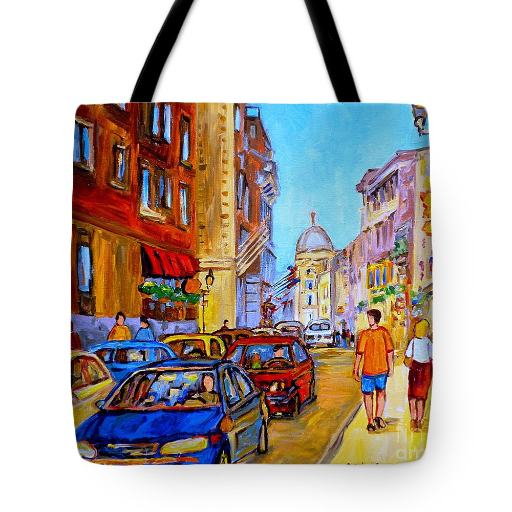 Old Montreal Street Scenes Tote Bag featuring the painting Old Montreal by Carole Spandau