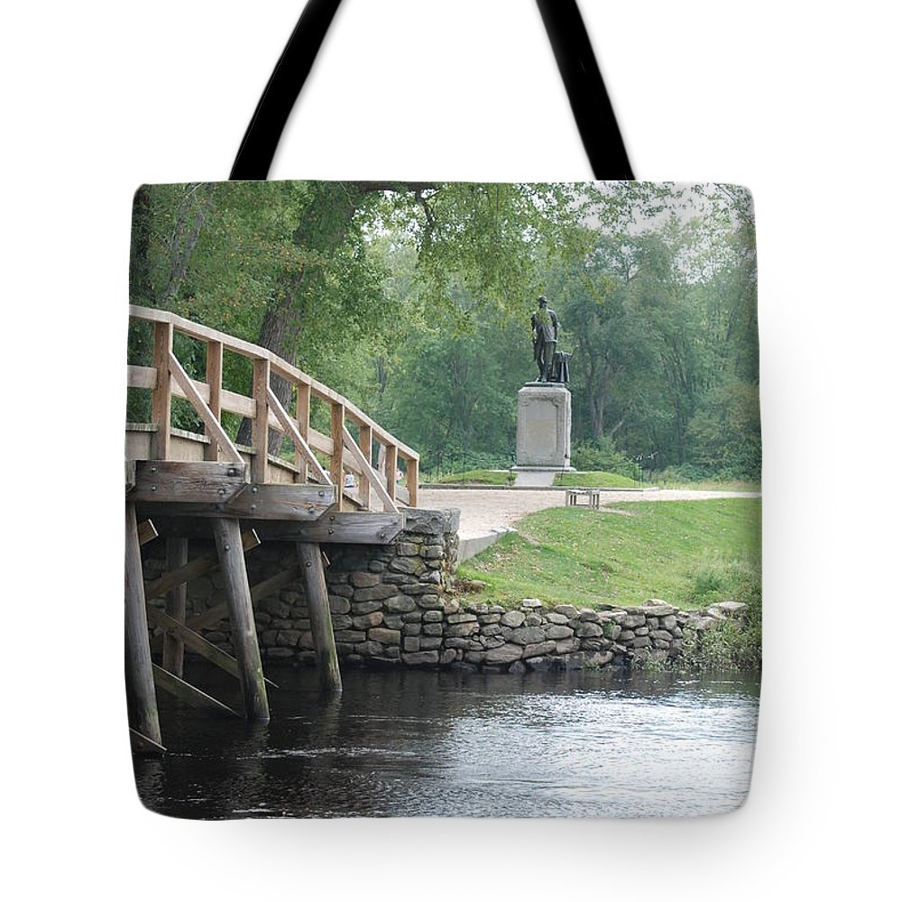 American History Tote Bag featuring the photograph Old North Bridge by Amy Porter