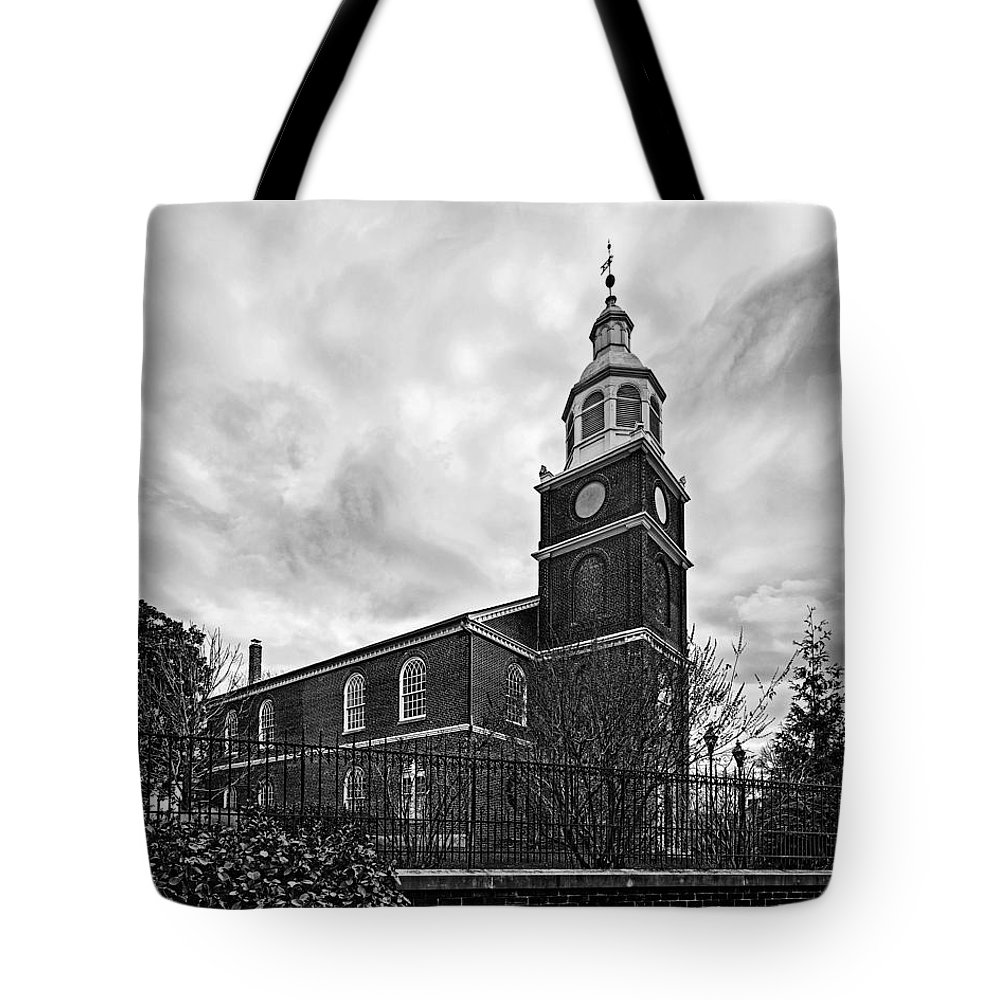 Old otterbein united methodist church tote bag featuring the photograph old otterbein church in black and