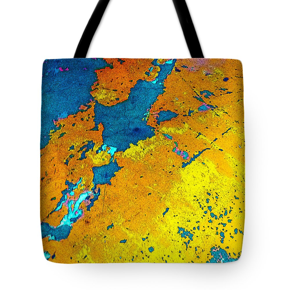 Found Art Tote Bag featuring the photograph Old Parking Garage Floor 2a by Robert J Sadler
