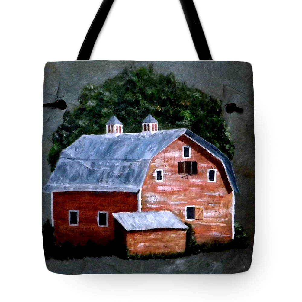 Red Barn Tote Bag featuring the painting Old Red Barn On Slate by Gino Didio