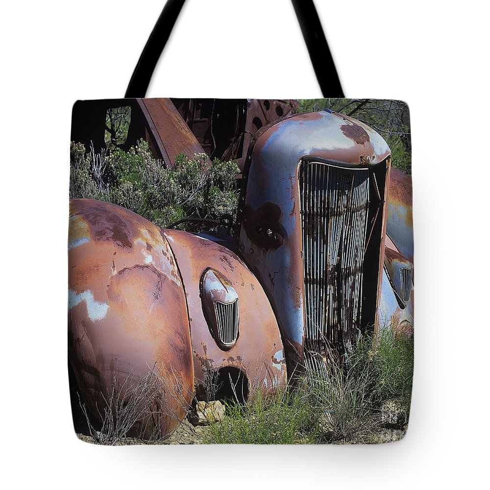 Vehicle Tote Bag featuring the photograph Old Red Car by Judy Bottler
