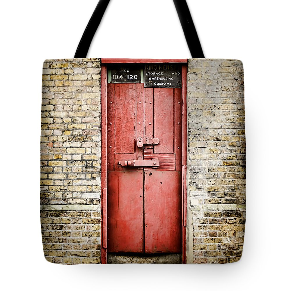 Door Tote Bag Featuring The Photograph Old Red Door By Heather Applegate