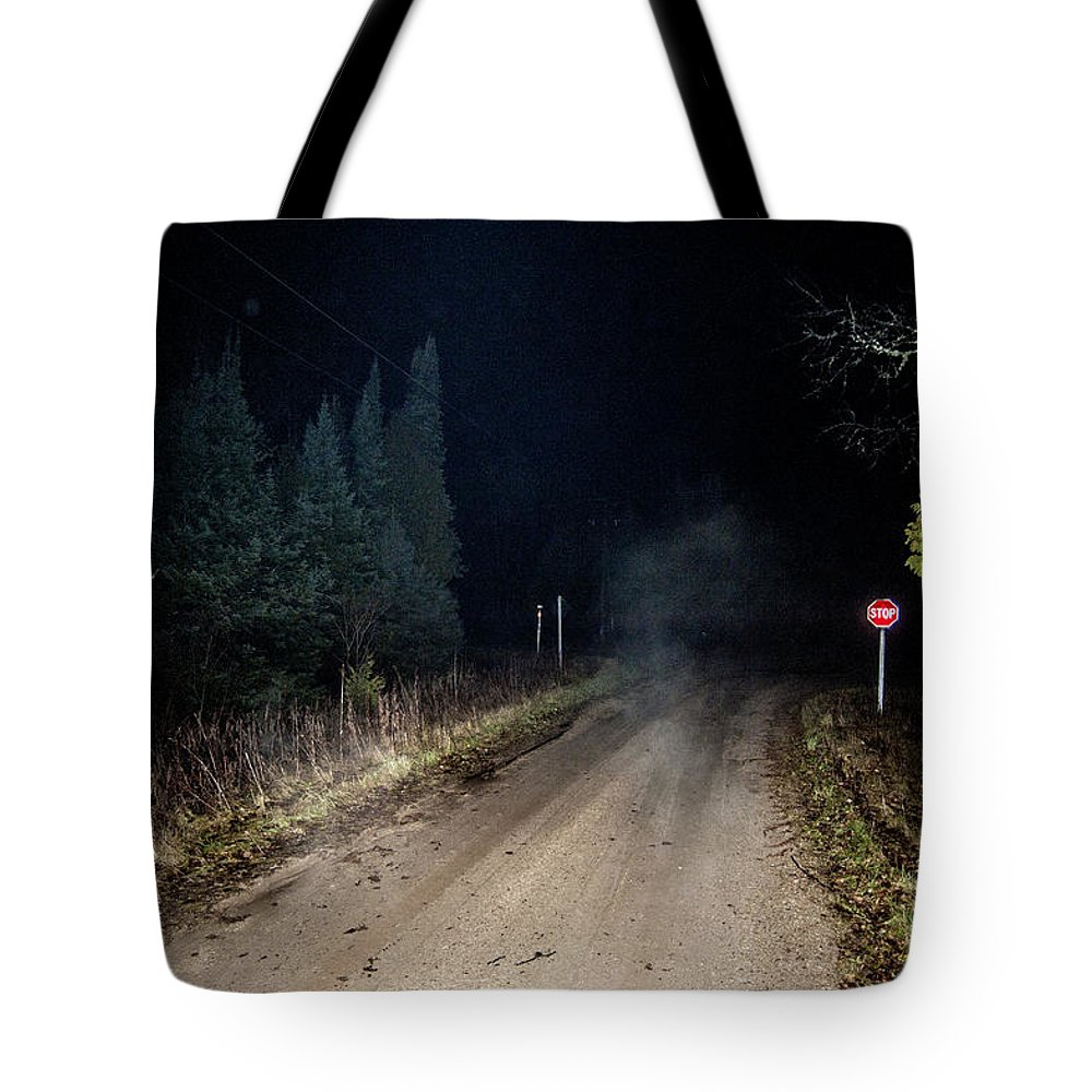 Fog Tote Bag featuring the photograph Old Road Night Fog by Steven Dunn