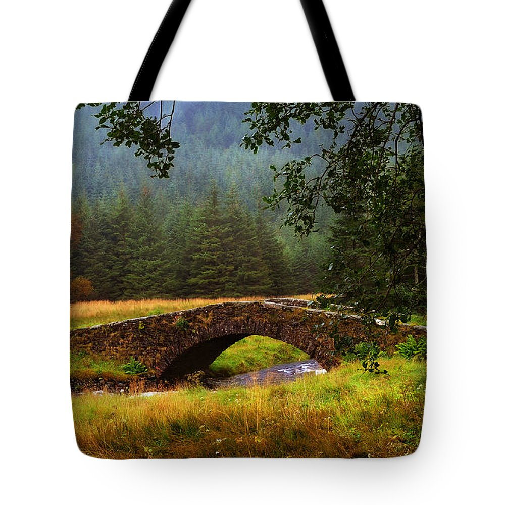 Scotland Tote Bag featuring the photograph Old Stone Bridge Over Kinglas River. Scotland by Jenny Rainbow