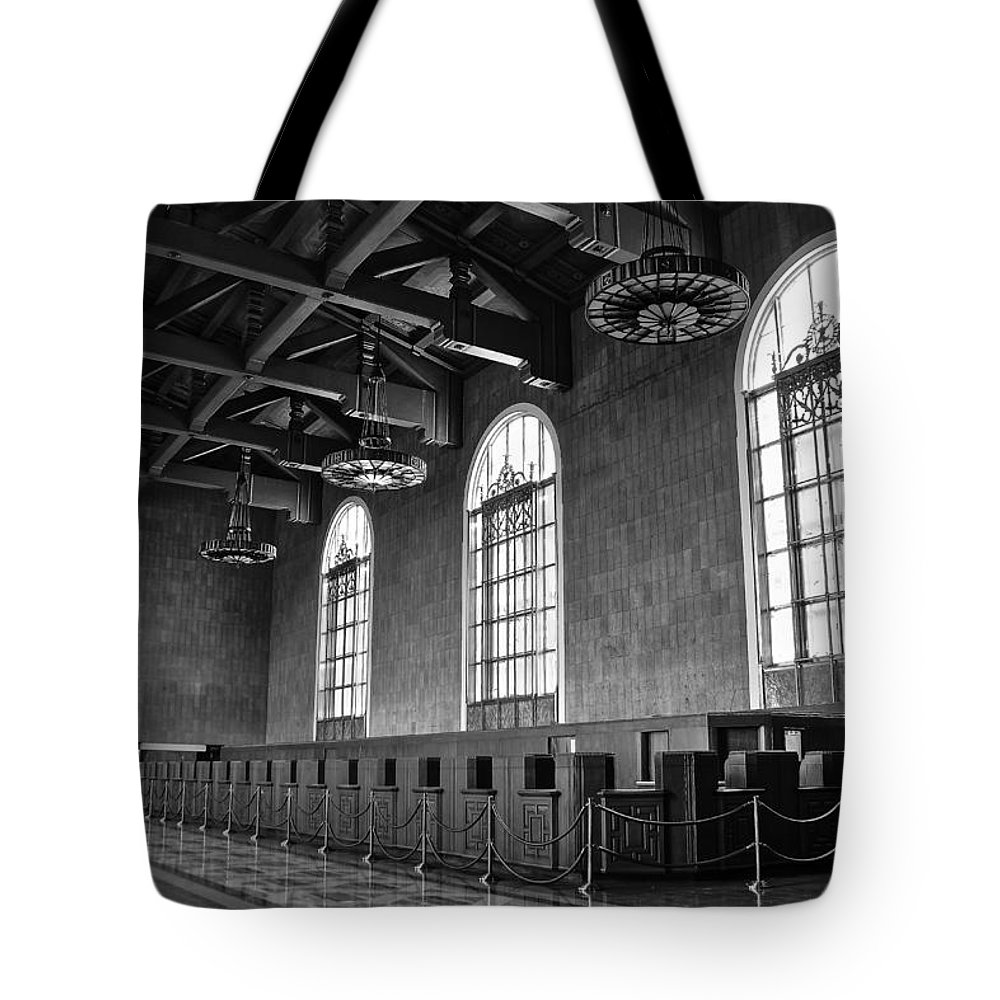 Los Angeles Union Station Tote Bag featuring the photograph Old Ticket Counter At Los Angeles Union Station by Richard Cheski