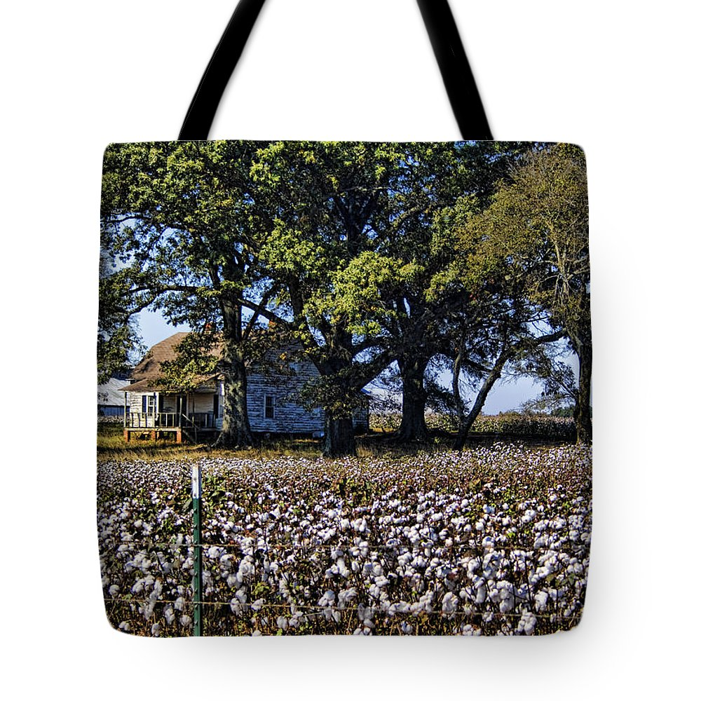 Cotton Tote Bag featuring the photograph Old Time Farm And Cotton Fields by Kathy Clark