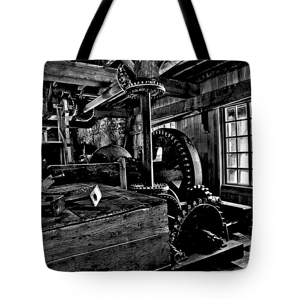 Grist Mill Gears Tote Bag featuring the photograph Old Time Gears by Adam Jewell