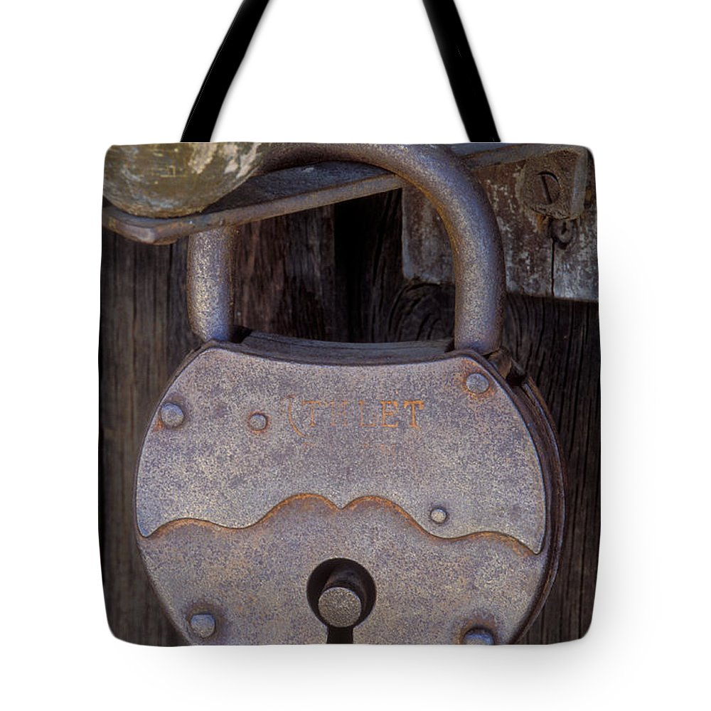 Padlock Tote Bag featuring the photograph Old Time Padlock by Sandra Bronstein