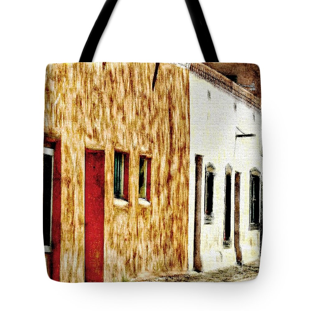 New Mexico Tote Bag featuring the painting Old Town New Mexico by Barbara Chichester