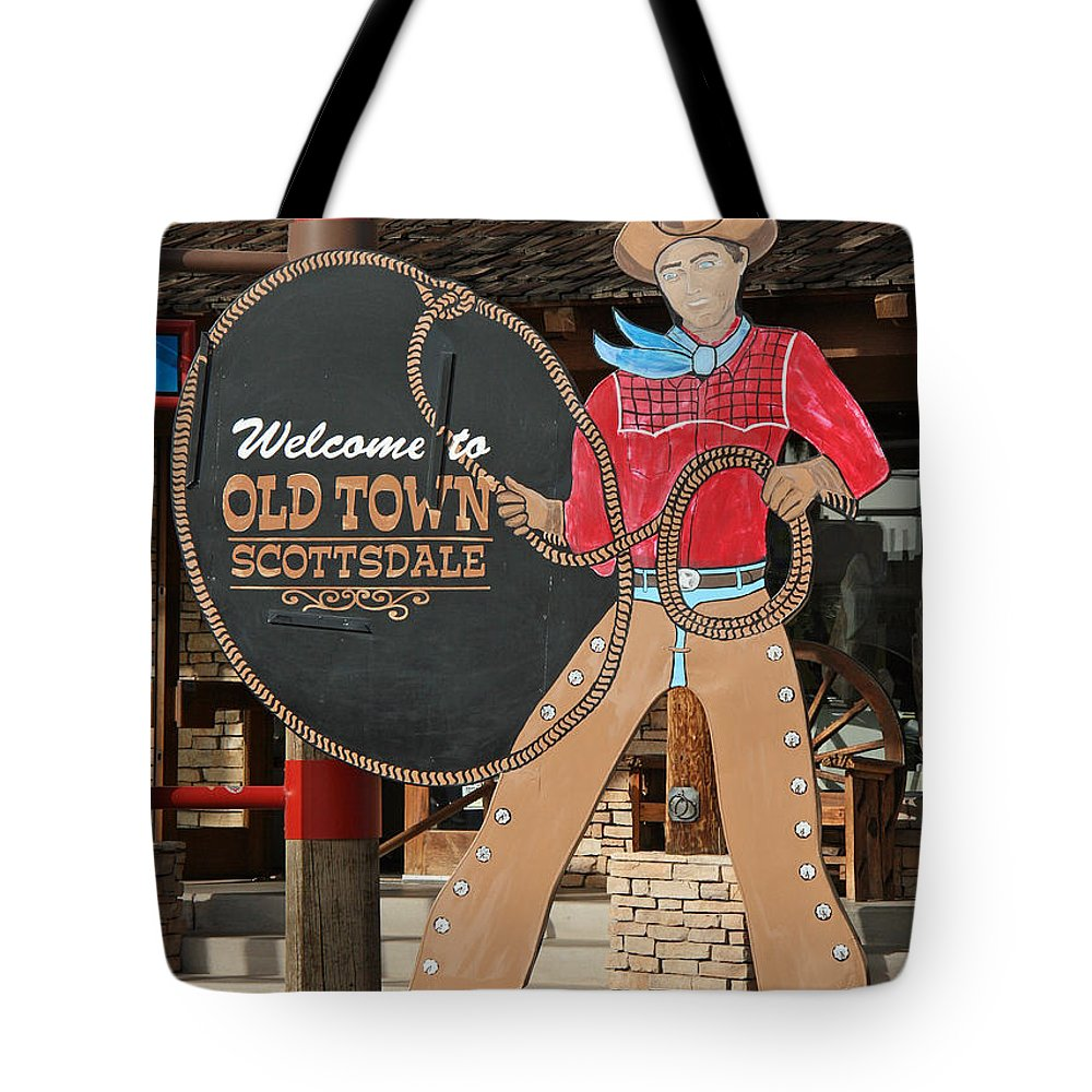 Scottsdale Tote Bag featuring the photograph Old Town Scottsdale Cowboy Sign by Elizabeth Rose