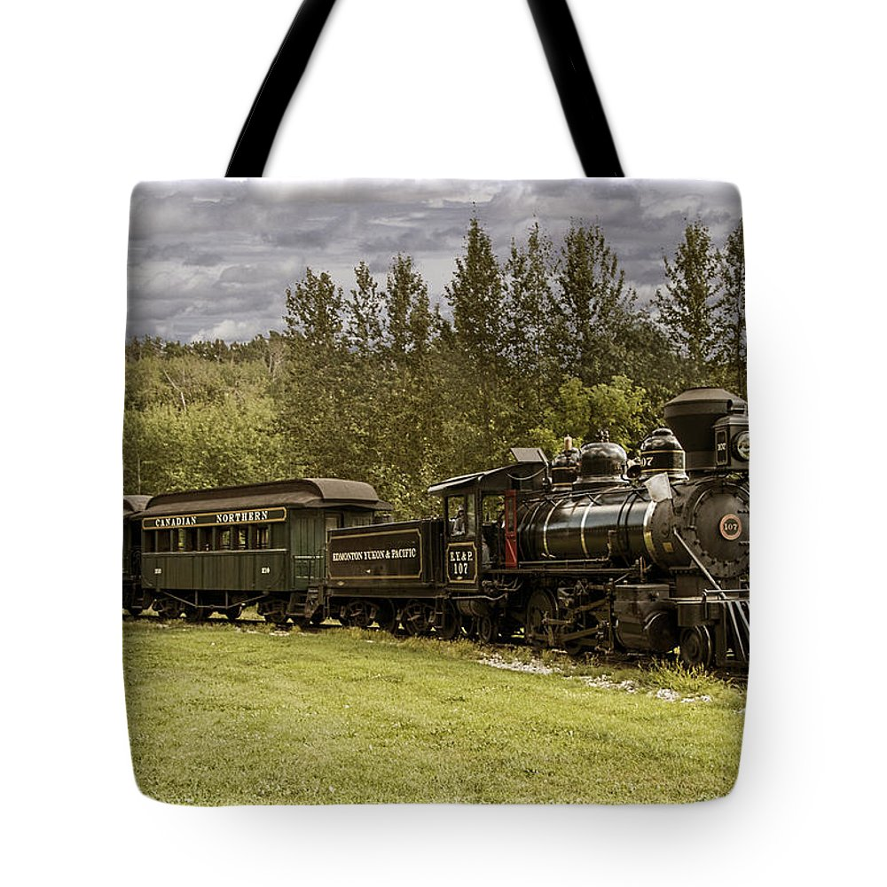 Landscape Tote Bag featuring the photograph Old Train Steam Engine At The Fort Edmonton Park by Randall Nyhof
