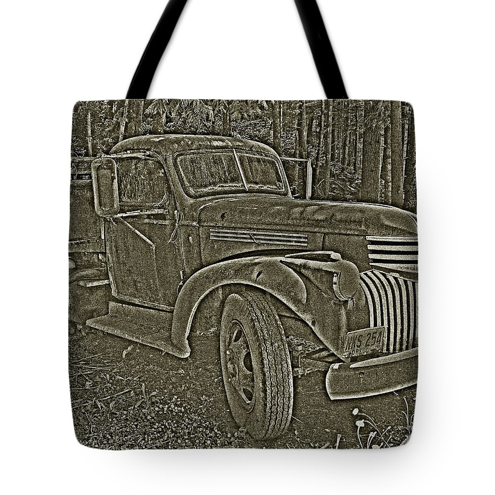 Old Truck Tote Bag featuring the photograph Old Truck In Sepia by Betty Depee