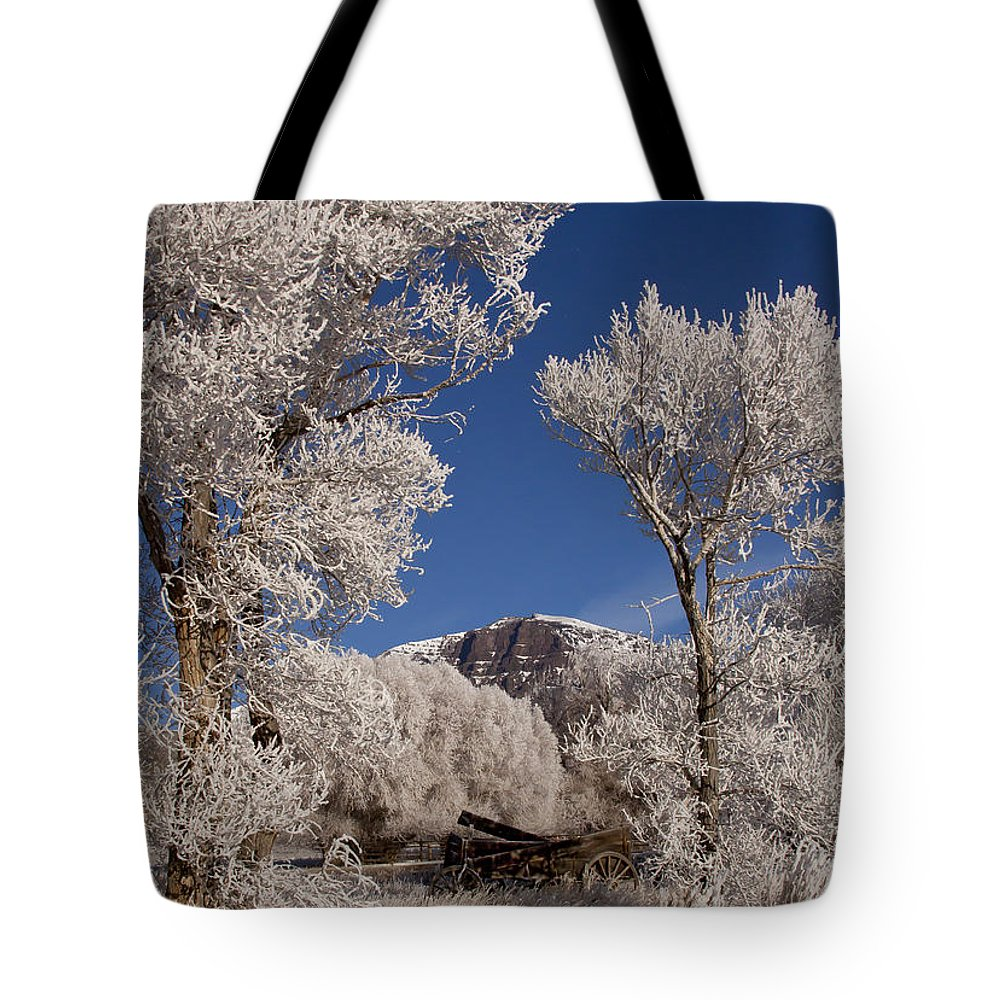 Old Wagon Tote Bag featuring the photograph Old Wagon Horse Frost And Jim Mountain  #3945 by J L Woody Wooden