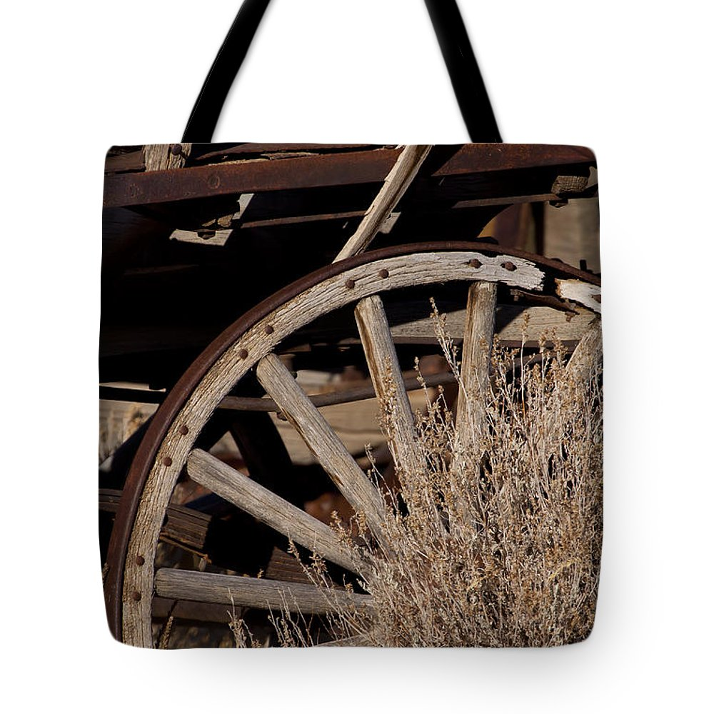 Wheel Tote Bag featuring the photograph Old Wagon Wheel  #4396 by J L Woody Wooden