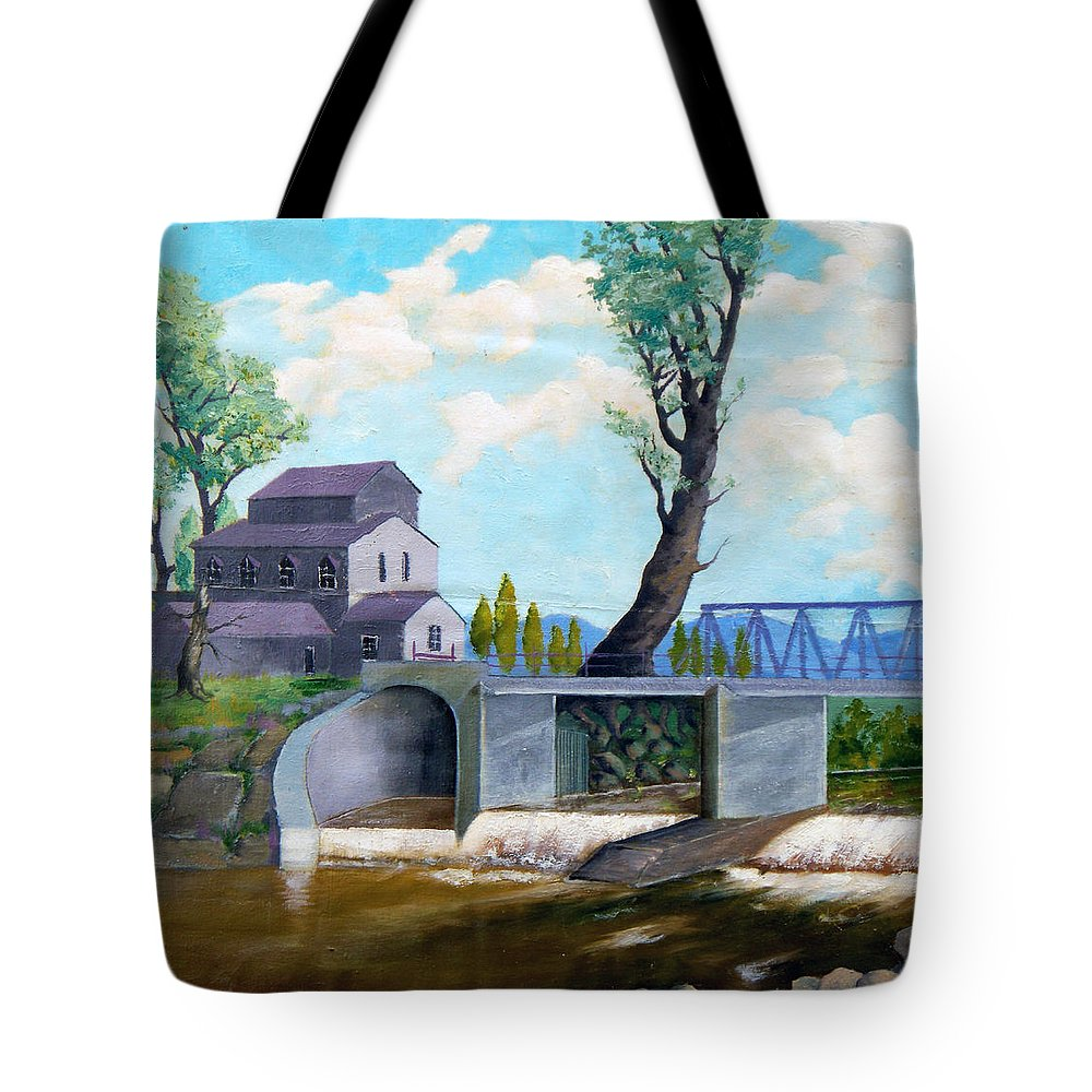 Old Tote Bag featuring the painting Old Water Mill by Sergey Bezhinets
