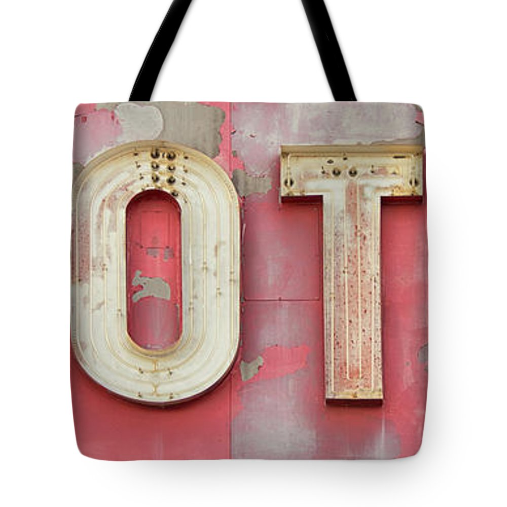 Panoramic Tote Bag featuring the photograph Old Weathered Motel Neon Sign by Steinphoto