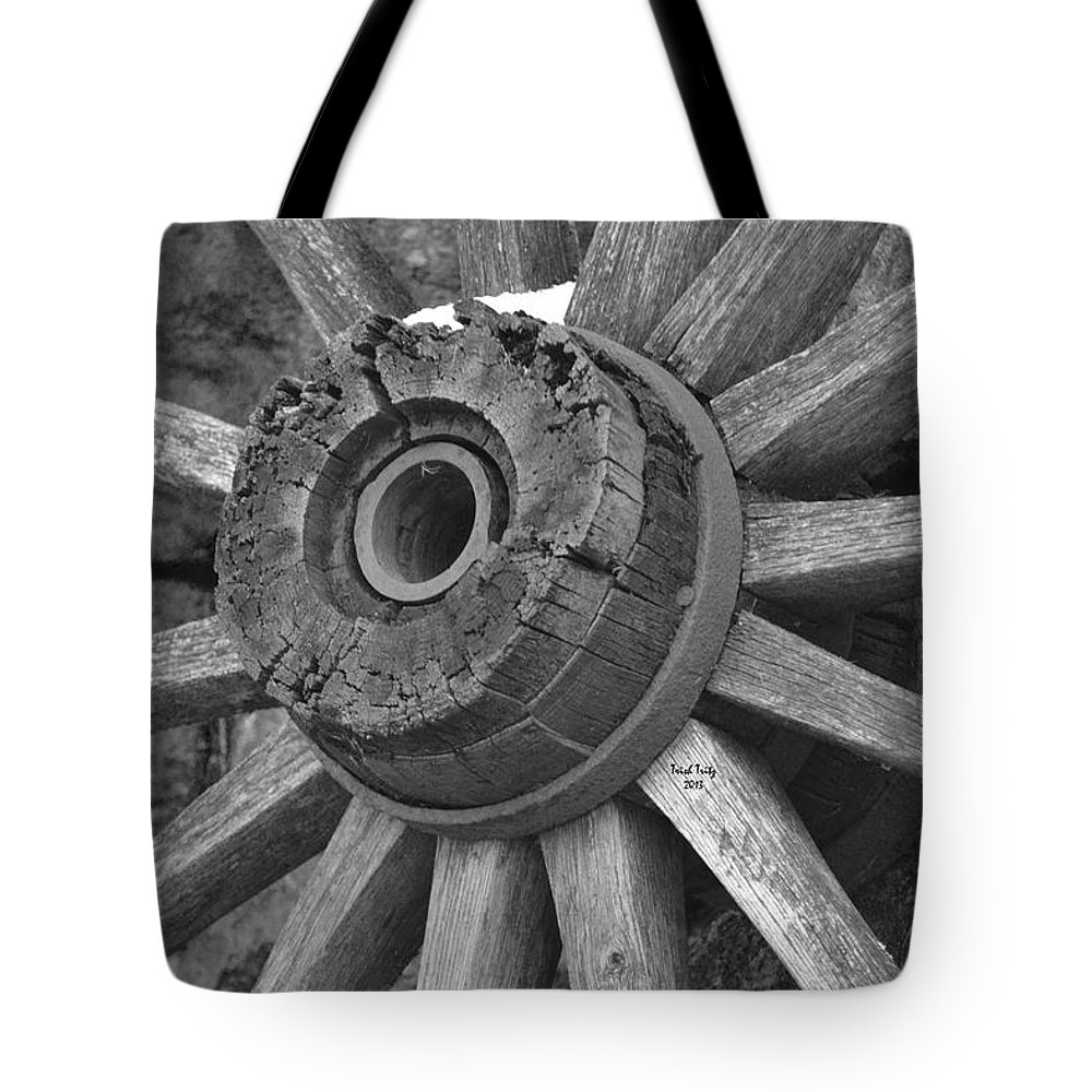Wagon Tote Bag featuring the photograph Old Wheel by Trish Tritz