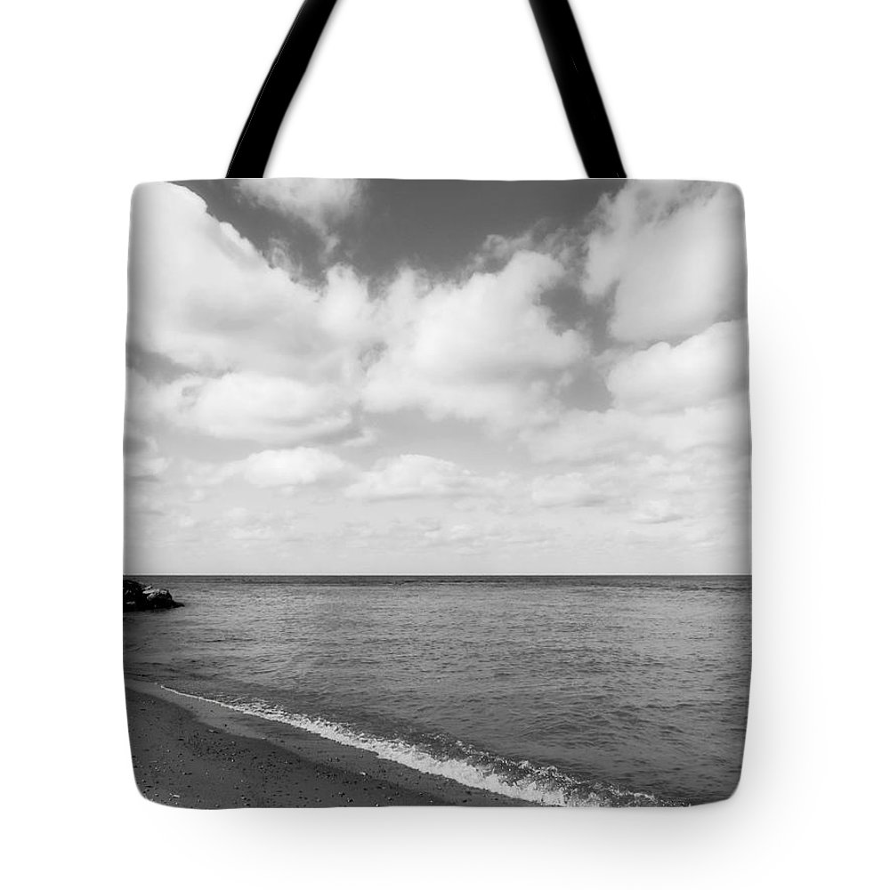 Old Woman Creek Tote Bag featuring the photograph Old Woman Creek - Black And White 2 by Shawna Rowe