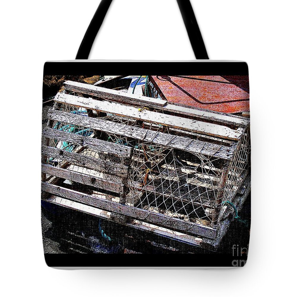 Old Wooden Lobster Pot Tote Bag featuring the photograph Old Wooden Lobster Pot by Barbara Griffin