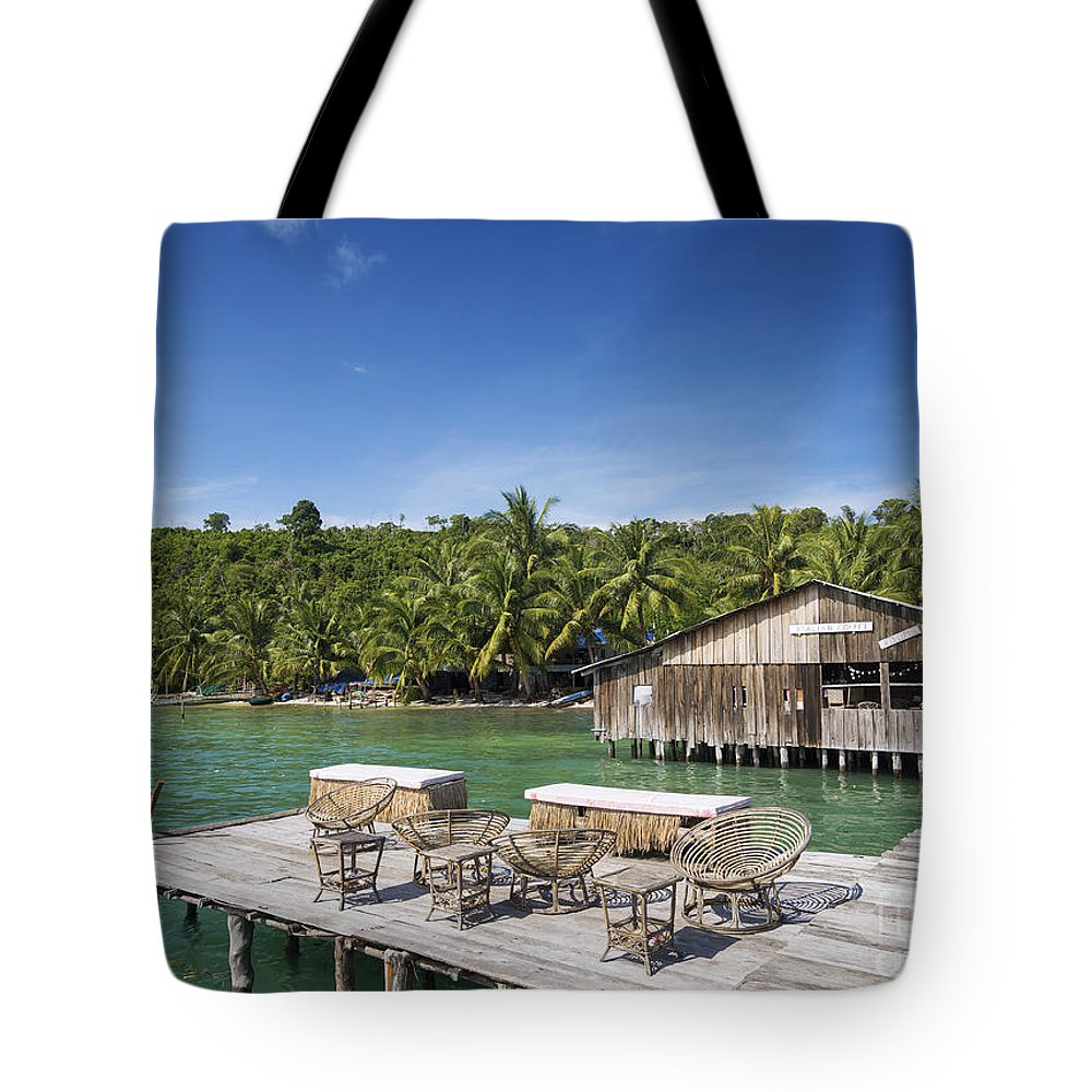 Asia Tote Bag featuring the photograph Old Wooden Pier Of Koh Rong Island In Cambodia by Jacek Malipan