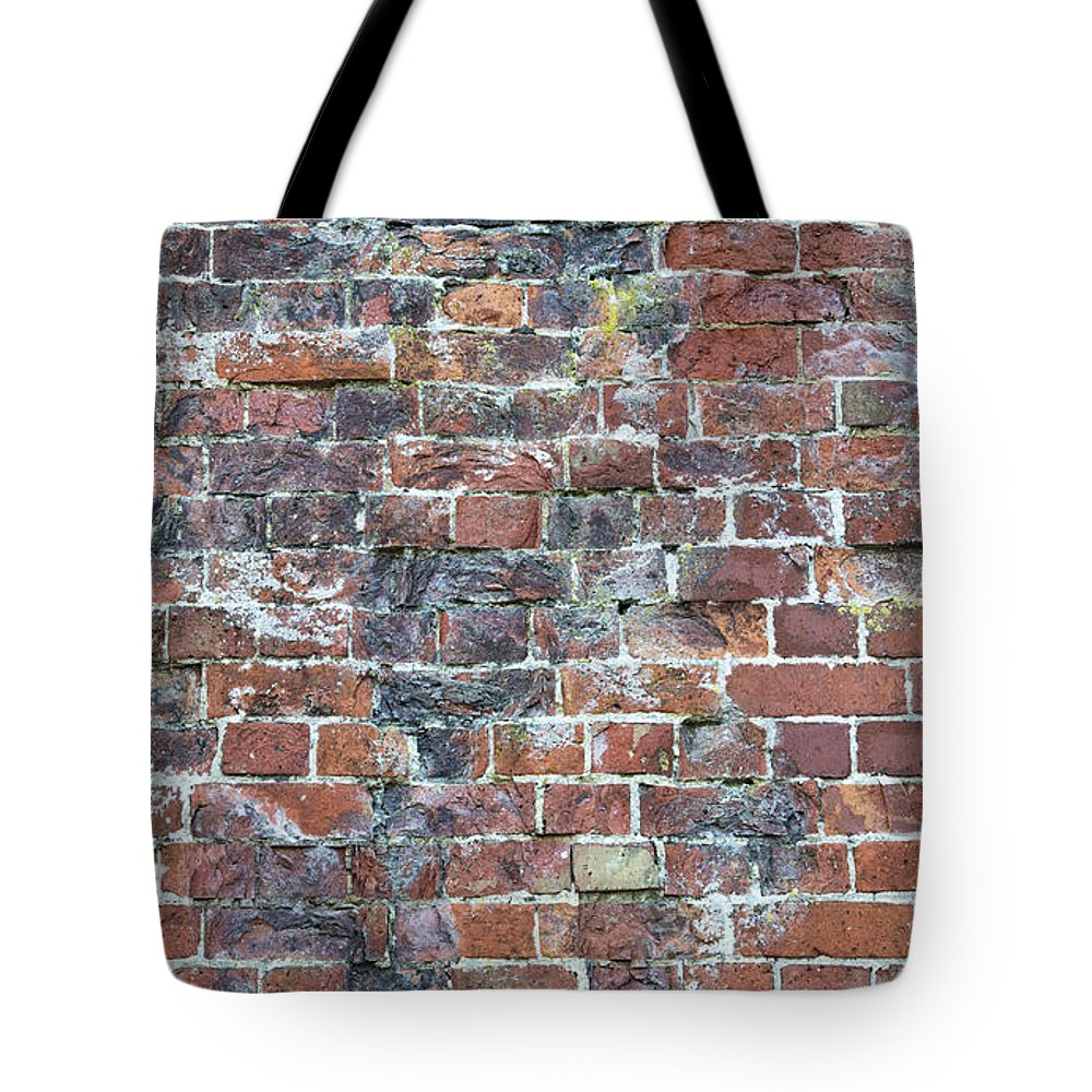 Old Tote Bag featuring the photograph Old Worn Red Brickwork Pattern by Tim Gainey