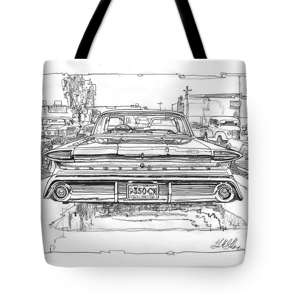 Oldsmobile 88 Drawing Tote Bag featuring the drawing Oldsmobile 88 Study by Garth Glazier