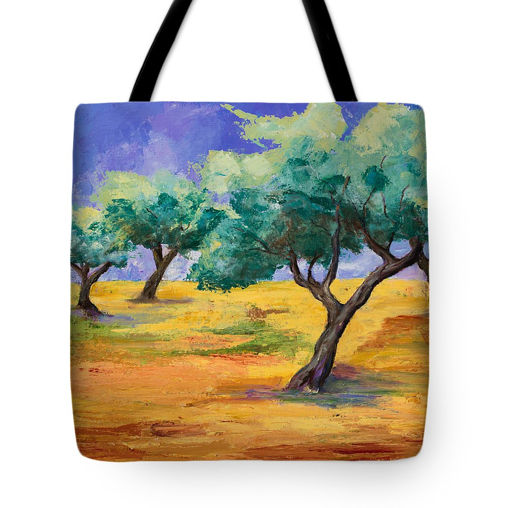 Olive Tree Grove Tote Bag featuring the painting Olive Trees Grove by Elise Palmigiani