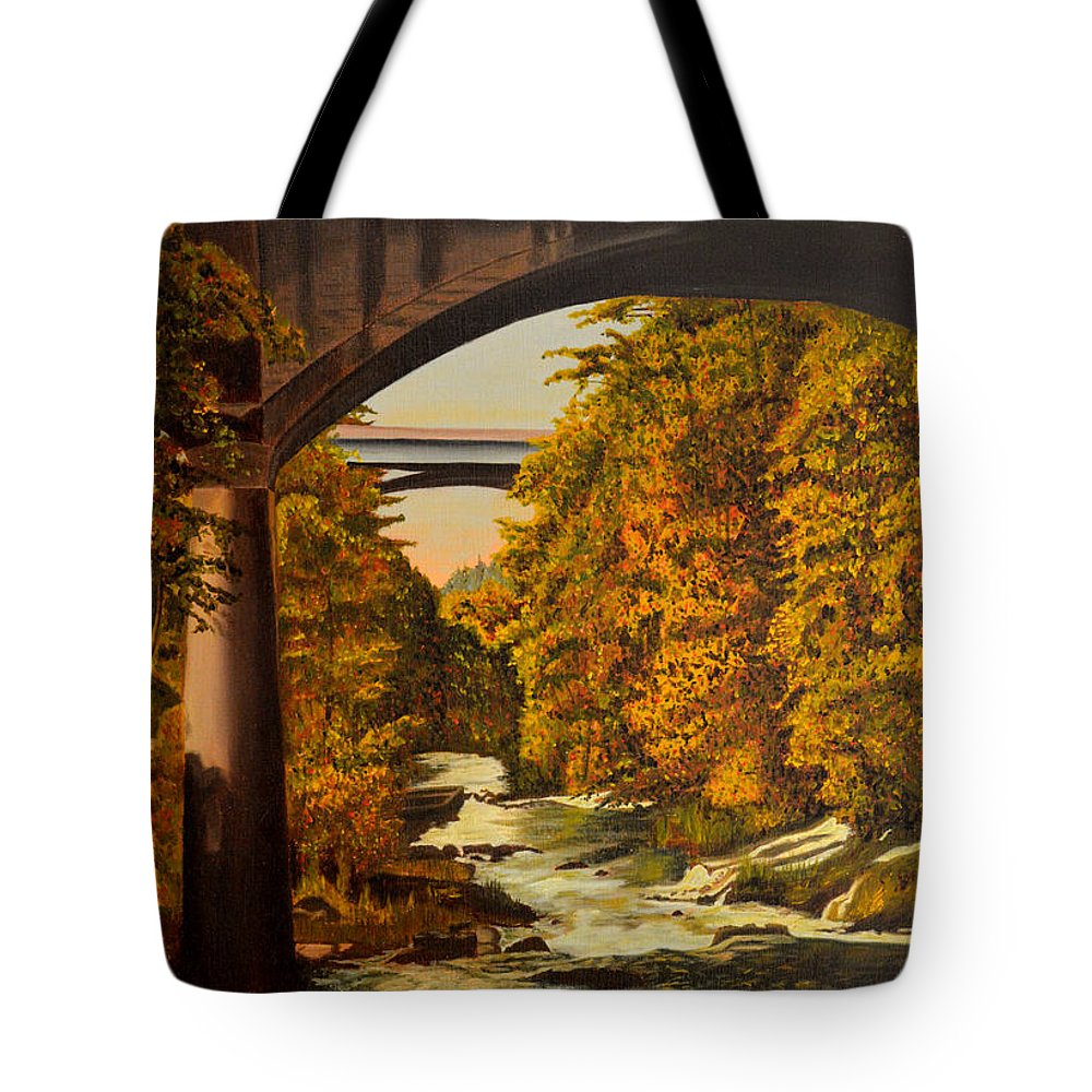 Bridge Tote Bag featuring the painting Olympia by Thu Nguyen